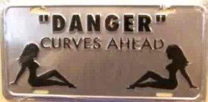 """Danger"" Curves Ahead License Plate"