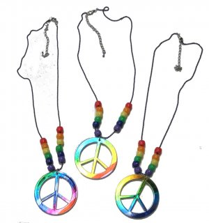 "18"" Rainbow peace sign necklace"