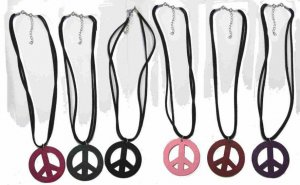 """2"""" Wood peace sign necklace with suede cord"""