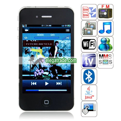HiPhone A801(J8+) Quad Band Dual Cards Dual Standby Dual Cameras WIFI Color TV Bluetooth Java Phone