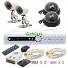 H.264 4 Channel Digital Video Recorder + Black Dome Camera + Φ8-16 LEDs Camera