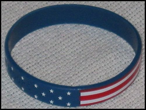 Support Our Troops in Iraq Patriotic American USA Flag Wristband W22 Military Red White & Blue