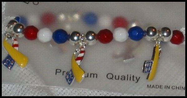 Support Our Troops in Iraq Patriotic American Flag Yelllow Ribbon Charms Stretch Bracelet J32