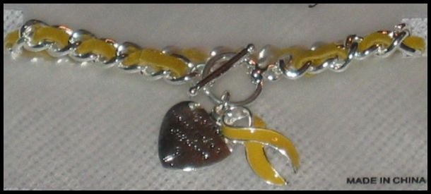 Support Our Troops in Iraq Patriotic Yellow Ribbon & Heart Charms Toggle Bracelet J52