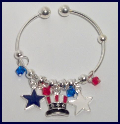 Patriotic Flag Stars Hat Danglers Charm Bracelet Support Our Troops in Iraq