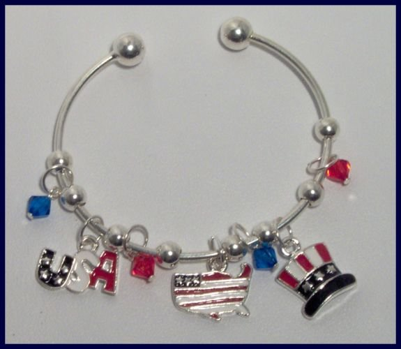 Patriotic American Flag Top Hat USA Map Charm Bracelet Support Our Troops in Iraq