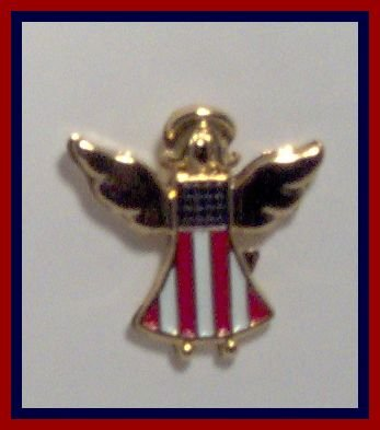 Support Our Troops Patriotic U.S.A Angel Tac Lapel Pin 18K Gold Finish  & Enameled American Flag