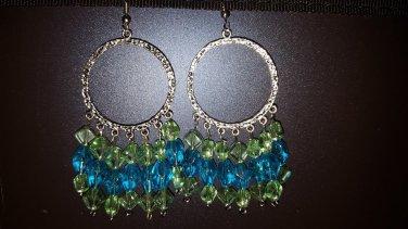 Green & blue crystal earrings