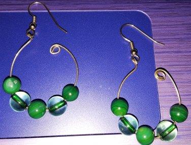 Green glass n beads