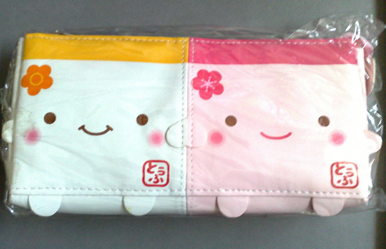 Q-Lia Hannari Tofu White and Pink pencil case