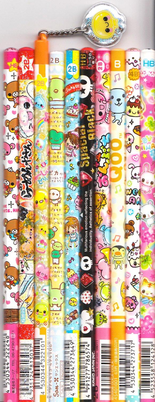 Kawaii Japanese Wooden Pencils Set 15
