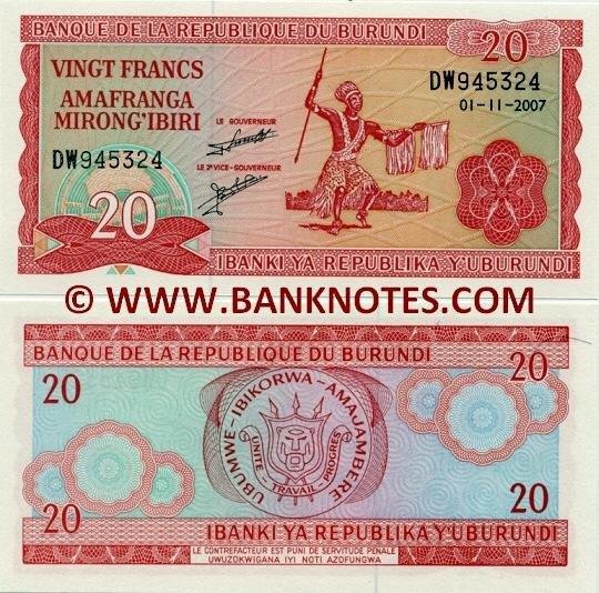 Burundi 20 Francs 1.11.2007 UNC