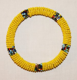 KENYA MAASAI BEADED BANGLE - YELLOW - 2.5""