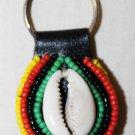 AFRICA MAASAI BEADED KEYCHAIN SHELL - MADE IN KENYA