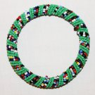 KENYA MAASAI BEADED BANGLE - GREEN MULTI TRIPE - 2.5""