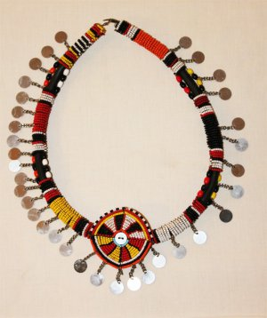AFRICAN MAASAI (MASAI) BEAD CHOKER NECKLACE - MARA #15
