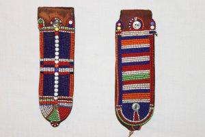 AFRICAN ANTIQUE MAASAI (MASAI) BEAD EARRINGS -KENYA #05