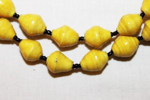 UGANDA PAPER BEADED NECKLACE HANDMADE - MEDIUM BEAD #13