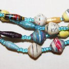 "UGANDA PAPER BEADED NECKLACE HANDMADE - LONG 40"" #03"