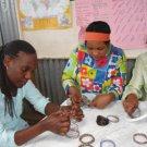 KENYA MAASAI BEADED COIL/SPRING BRACELET - ORANGE
