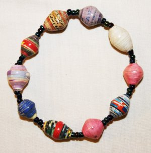 UGANDA PAPER BEADED BRACELET HANDMADE - MEDIUM BEAD #09