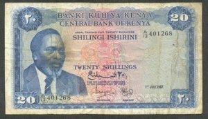 KENYA 20 SHILLINGS BANKNOTE - 1ST JULY 1967 - F