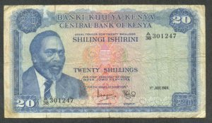 KENYA 20 SHILLINGS BANKNOTE - 1ST JULY 1969 - F