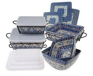 Temp-Tations Old World 11 Piece Square Oven To Table Set BLUE