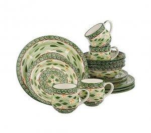 sc 1 st  juliestreasurechest - eCRATER & Temp-Tations Old World 16 Piece Dinnerware Set GREEN