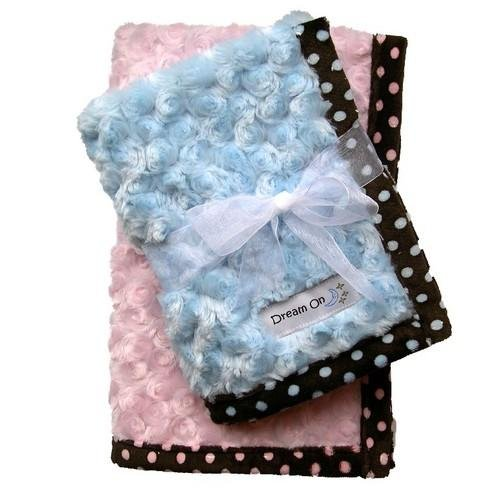 Dog Clothes Large Blue Curly Minky & Chocolate Dots Blanket