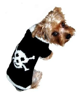 Dog Clothes Adorable Jolly Roger Black Skull Sweater