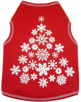 Dog Clothes Adorable Red Snowflake Holiday Tank