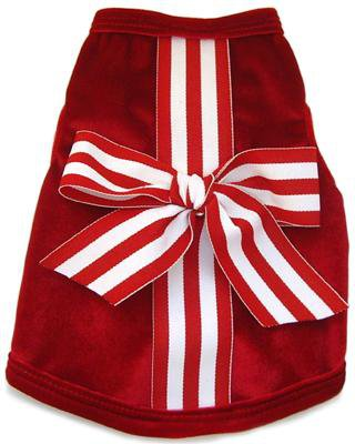 Dog Clothes Adorable Red Christmas Present Velvet Tank