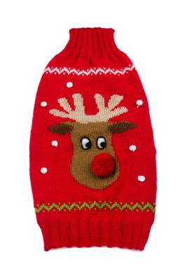 Dog Clothes Adorable Alpaca Red Rudolf Sleeveless Sweater