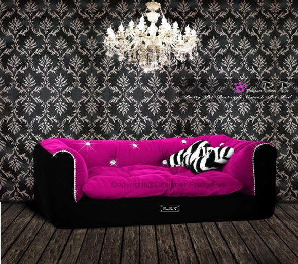 Dog Beds NEW!! Rectangular Hot Pink & Black Couch Bed