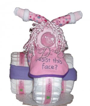 3-Wheeler diaper cake for a girl