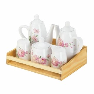 Mini Dolomite Pink Floral Tea Set