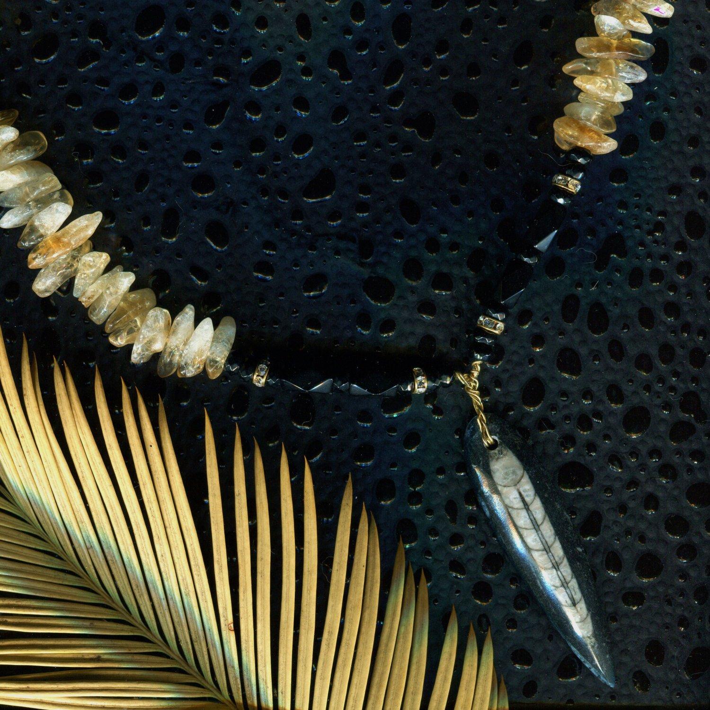 Citrine Gemstone Necklace w/ Orthoceras Fossil Pendant