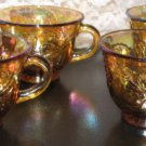 Set of 12 Carnival Glass Amber Punch Glasses- great collectors piece!