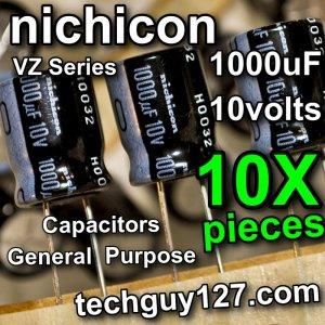 10 Pcs Nichicon VZ 1000uF 10V Radial Electrolytic Capacitors