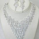 LARGE RHINESTONE BIB NECKLACE SET NKR625