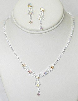 IRIDESCENT & CLEAR RHINESTONE JEWELRY SET NKR649