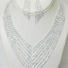 LAVISH 8 ROW RHINESTONE V NECKLACE SET NKR616