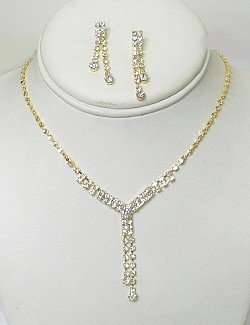 GOLD PLATED RHINESTONE Y NECKLACE SET NKR605