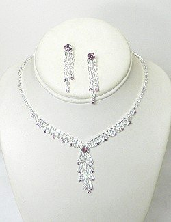 RHINESTONE NECKLACE SET WITH COLOR NKR599