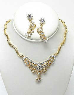 GOLD PLATED CLEAR AND AB SET NKR556
