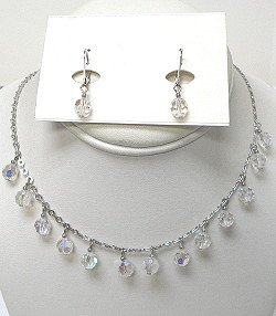 IRIDESCENT BEADS ON SILVER CHAIN SET  NKR488