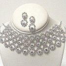 3 ROW CIRCLE AUSTRIAN CRYSTAL CHOKER SET NKR477
