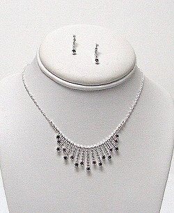 CLEAR AND PURPLE RHINESTONE NECKLACE SET NKR399
