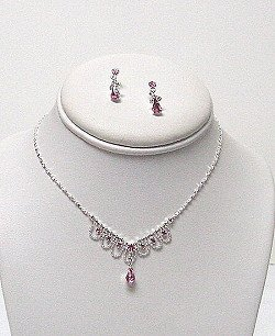 DAINTY PINK RHINESTONES NECKLACE SET NKR394